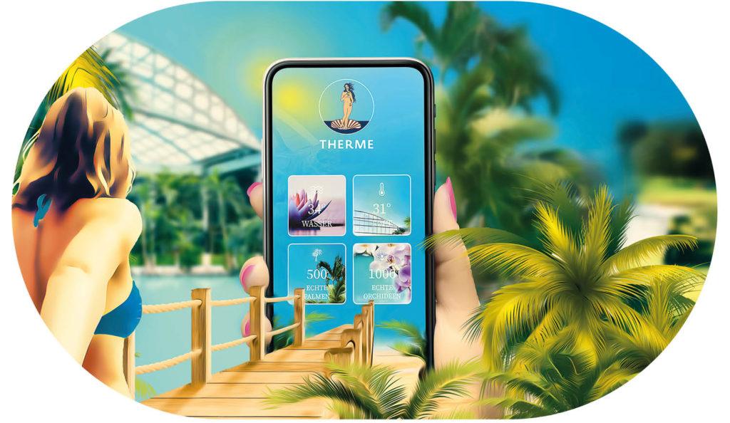 Startseite der Thermen-App